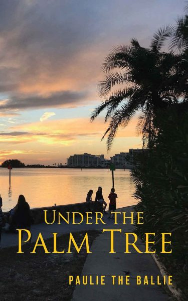 3 people under a palm tree near bay on a sunset background
