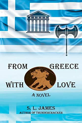 Greece flag and with symbols, sky blue background
